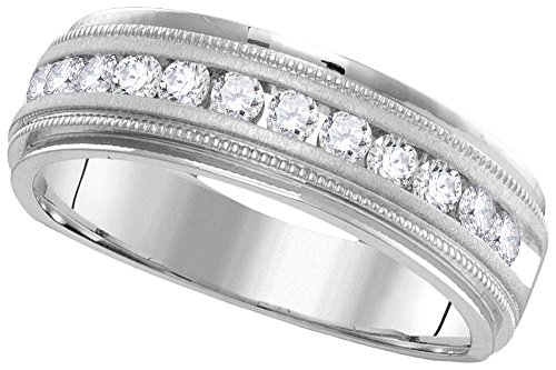 Jewels By Lux 14kt White Gold Mens Round Channel-set Diamond Milgrain Edge Wedding Band Ring 1/2 Cttw (I1-I2 clarity; H-I color) 14kt Gold Channel Set Band