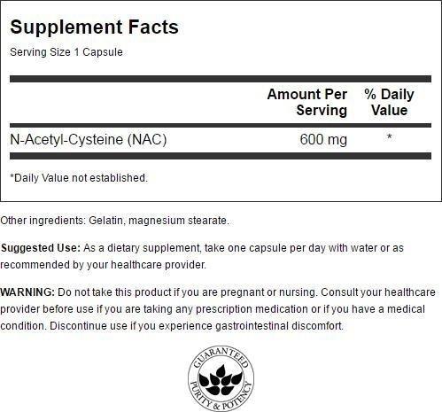 Swanson Nac N Acetyl Cysteine 600 mg 100 Caps
