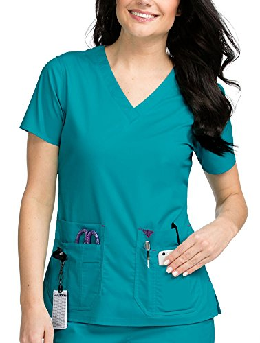 (Med Couture Signature Women's V-Neck Knit Panel Scrub Top, Real Teal/Sangria, Small )