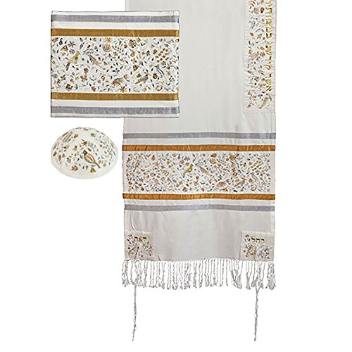- Yair Emanuel Raw Silk Tallit Set Embroidered Matriarchs - Gold and Silver 16'' x 70''