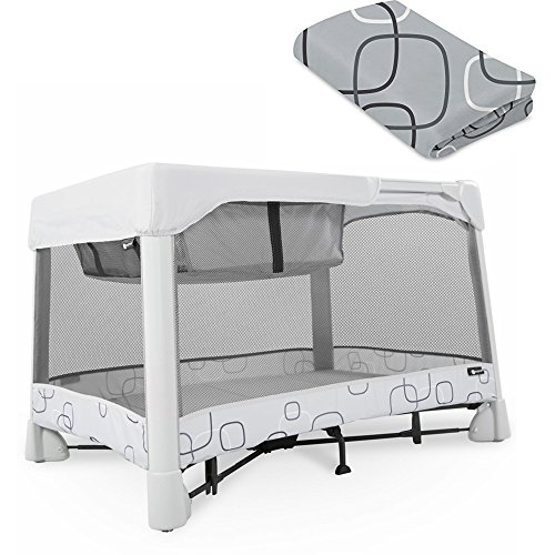4Moms Breeze Classic, Light Grey With Silver/Grey Bassinet Sheet Bundle