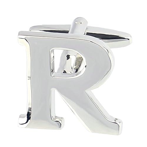 Anazoz mancuernas de la joyería de latón camisa inicial Inglés mayúscula del alfabeto letra R plata para hombres: Amazon.es: Joyería