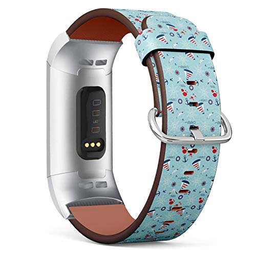 Compatible with Fitbit Charge 3 / Charge 3 SE - Leather Watch Wrist Band Strap Bracelet with Stainless Steel Clasp and Adapters (Sailboat Anchor Steering) (Sailboat Clasp)