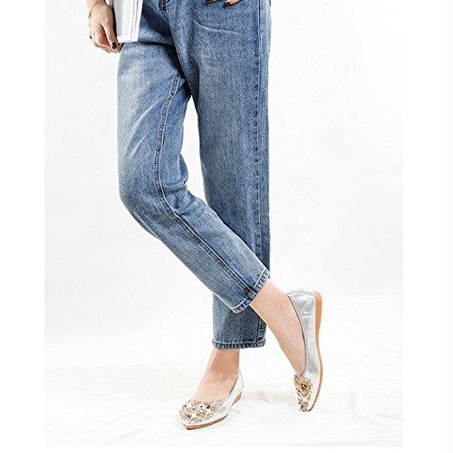 Silver Pointed Slip Wedding Rhinestone Dress Ballet Women 1 Foldable Flats On Misab Shoes waPX1n