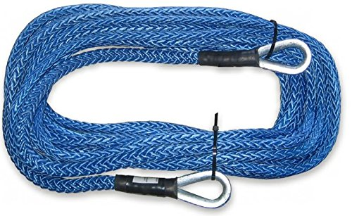 BILLET4X4 U.S. Made 3/8 inch x 50 ft. AMSTEEL Blue Winch Rope Extension - 20,400lb Strength (4X4 Vehicle Recovery) (Amsteel Blue Winch)