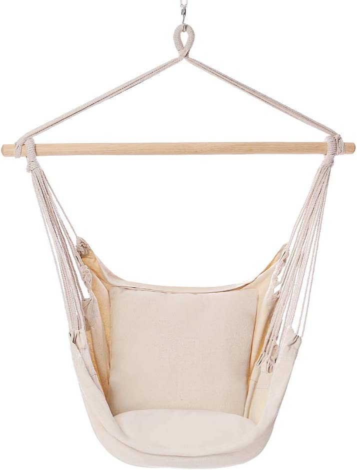 POPCLEAR Hammock Chair Hanging Rope Swing, 330 Pound Capacity, Hanging Chair with Cotton Rope for Indoor, Outdoor, Home, Patio, Deck, Yard, Garden,2 Seat Cushions Included with Hanging Kit Beige
