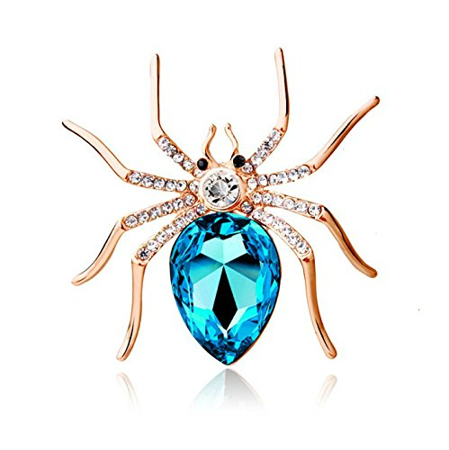 Reizteko Crystal Rhinestone Spider Fashion Pin Brooch Creative Women Jewelry Accessory Halloween Gift for Women (Gold-Plated SkyBlue)