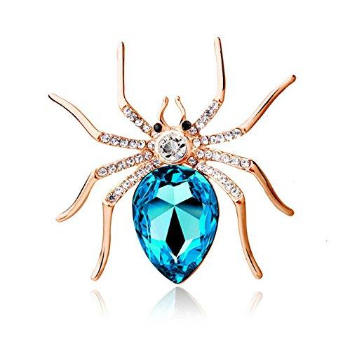- Reizteko Crystal Rhinestone Spider Fashion Pin Brooch Creative Women Jewelry Accessory Halloween Gift for Women (Gold-Plated SkyBlue)