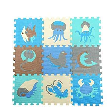 Generic 9 PCS Splicing Mobilization EVA Marine Foam Mats Children Educational Toys Puzzle Anti-skid And Anti-fall Crawling Mat(Blue)