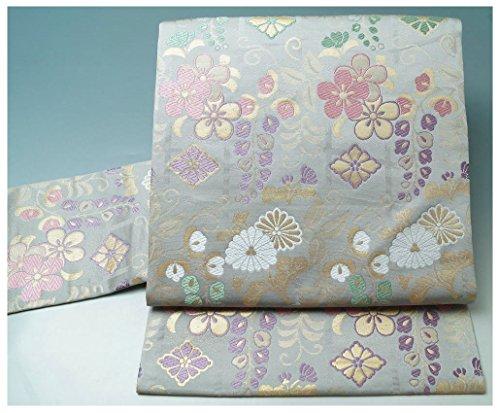 ためらうアンタゴニストコードレス名古屋帯 新品 西陣(12)花垣模様 サンドグレー 新品仕立て上がり品 正絹