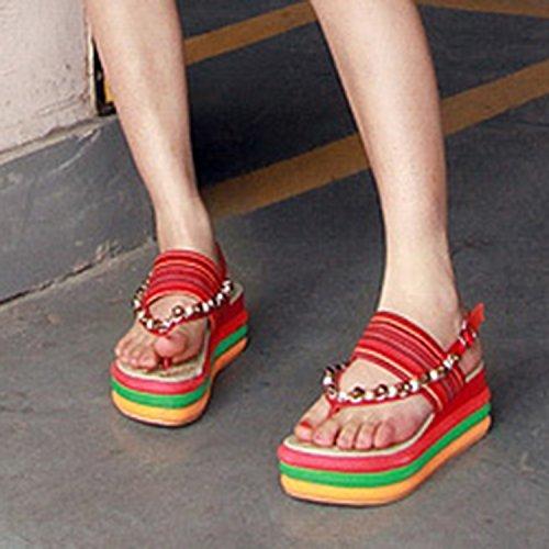 Azbro Mujer Sandalias de Tacón Cuña de Multicolor Puntera Clip Naranja
