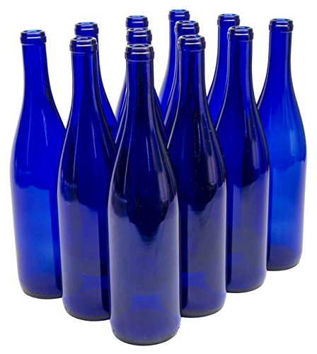 (North Mountain Supply 750ml Glass California Hock Wine Bottle Flat-Bottomed Cork Finish - Case of 12 - Cobalt Blue)