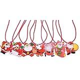 San Tokra 12 Pcs Christmas Holiday Flashing Light Necklaces, Christmas Tree Snowman LED Pendant Necklace
