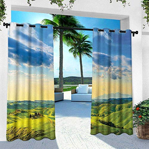 Tuscany Pergola Set - Hengshu Tuscany, Outdoor Privacy Curtain for Pergola,Sunset in Tuscany, W96 x L108 Inch, Rural Farm Cypresses Trees Sunlight Volterra Italy