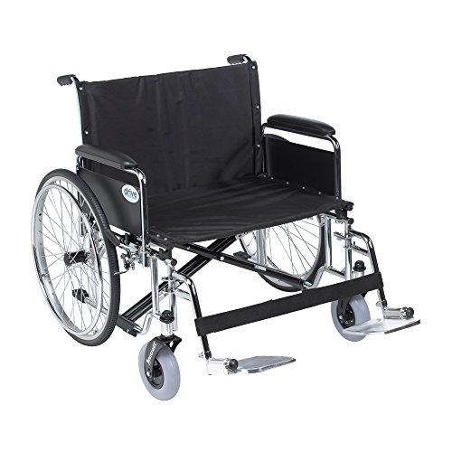 Drive Medical Sentra EC Heavy Duty Extra Wide Wheelchair, Detachable Full Arms, Swing away Footrests, 28