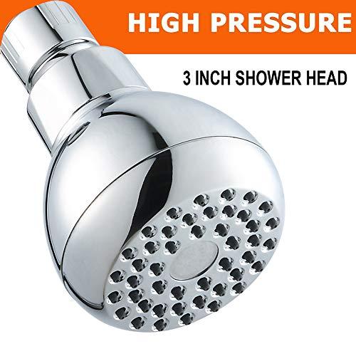 Borndo - Cabezal de ducha de alta presión, antirozaduras, chapado en cromo fijo de 7,6 cm, cabezal de ducha chapado en...
