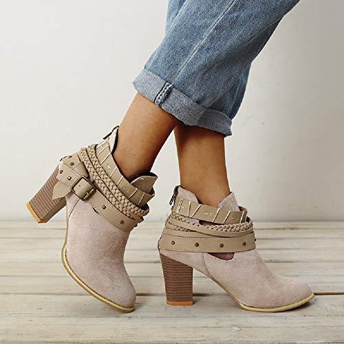 Stivali Donna Rosso Grigio Blocco Stivaletti 8cm Sexy A Caviglia Scarpe Tacco Nero Cerniera Autunno 35 Grigio Eleganti Moda Scarpe Boots Ankle 43 Corti ArUwxAqCnp