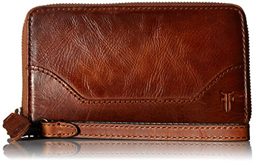 FRYE Melissa Zip Phone Wallet, Cognac (Boutique Designer Wallet)