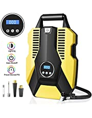 Sunvook Digital Tyre Inflator, Tyre Pump Air Compressor 12V 120W 150PSI Digital Tyre Inflator with Larger Air Flow, 3 Nozzle Adaptors, LED Light for Car SUV Basketballs Inflatables Bicycles