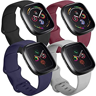 Tobfit 4 Pack Compatible with Apple Watch Band 38mm 42mm 40mm 44mm, Soft Silicone Replacement Band Compatible with iWatch Series 5 4 3 2 1 (Black/Gray/Navy Blue/Wine Red, 38mm/40mm S/M)