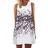 Winsummer Plus Size Womens Summer Sleeveless Tank T-Shirt Dress Casual Vintage Boho Floral Print Swing Short Dress