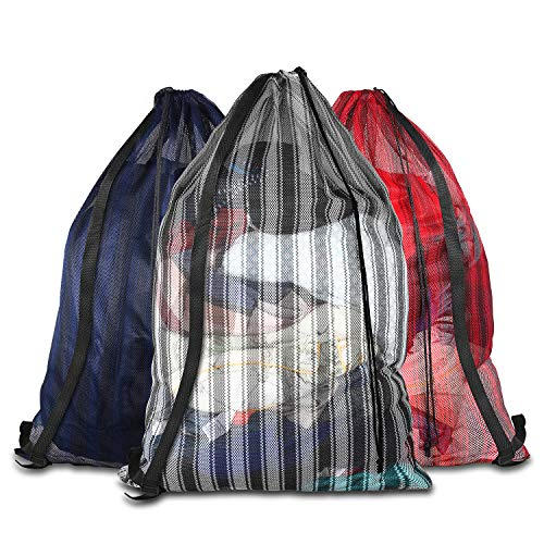 Daly Kate 3 Pack Mesh Laundry Bags with Adjustable Single Shoulder Straps 24