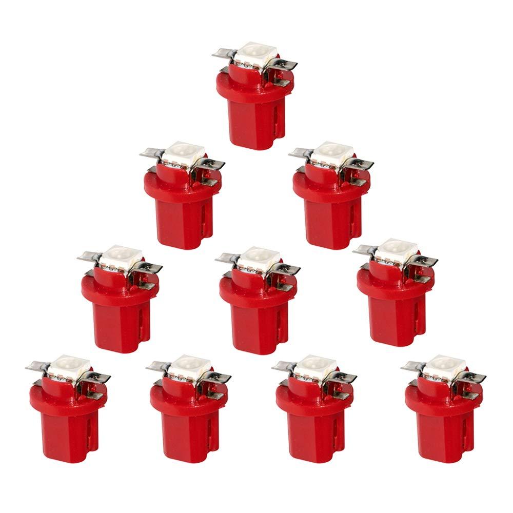 HopeU5/® Red T5 B8.5D 5050 1-SMD quadro strumenti dellautomobile LED Light Cruscotto Indicatore Cluster Lampadina 12V confezione da 10 pezzi