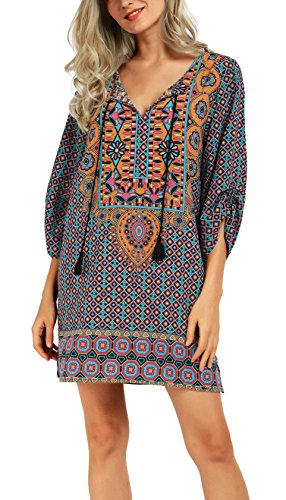 Women Bohemian Neck Tie Vintage Printed Ethnic Style Summer Shift Dress (Large, Pattern 5-Green)