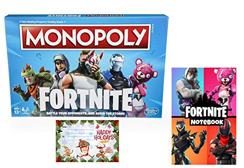 Monopoly: Fortnite Edition Board Game Inspired by Fortnite Video Game Ages 13 and Up Bundle with Fortnite Notebook Heroes Edition Set | Custom Designed Christmas Tag/Card