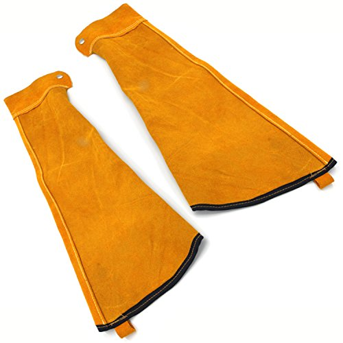 Heat Resistant Welding Sleeves,Leather Sleeves for welding, Button closure,Spark Resistant Protection,1 Pair (yellow) by Handook
