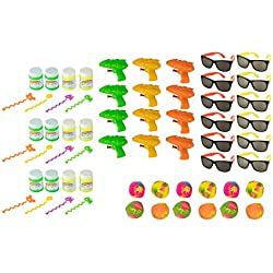 Summer Party Favors - 48-Piece Beach Theme Party Supplies, Novelty Toy Assortments for Pool Party, Includes Water Gun, Bubbles, Sunglasses, Multicolored, Halloween Goodie Bag, Trick or Treat Toys