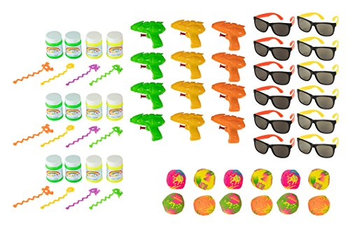 Summer Party Favors - 48-Piece Beach Theme Party Supplies, Novelty Toy Assortments for Pool Party, Includes Water Gun, Bubbles, Sunglasses, - Water Theme