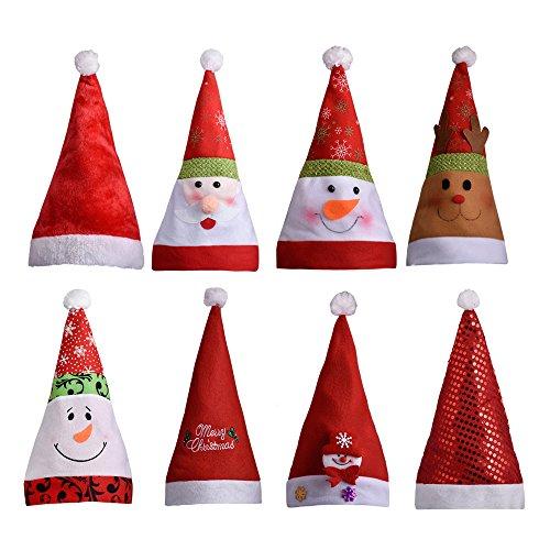 TOPQSC Christmas Hat Santa Claus HatParty Hat Santa Claus Elk Snowman Fancy Flannel Pack of 8pcs for Family&Party (Fancy Snowman)