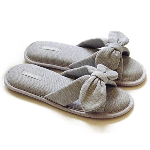 - Women's Cozy Cotton Memory Foam House Slippers Non Slip Soles (7-8 B(M) US, Grey)