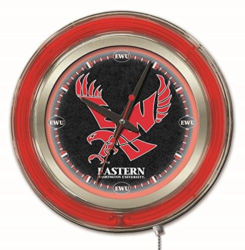 - Holland Bar Stool Co. NCAA Eastern Washington Eagles Double Neon Ring 15-Inch Diameter Logo Clock