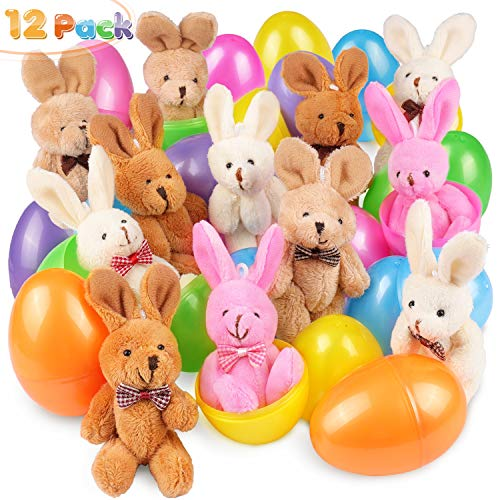 12 PCs Filled Easter Eggs with Plush Bunny, 3