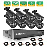 16 Channel Security Camera System,SMONET 5-in-1 1080P Security Camera System(1TB Hard Drive),8pcs 2MP Indoor Outdoor Home Security Cameras,DVR Kits for Easy Remote Monitoring,Super Night Vision