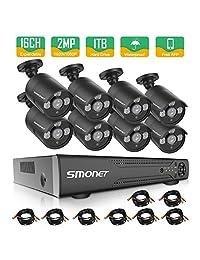 2019 nuevo  Sistema de 16 canales de cámara de seguridad, SMONET 4 en 1 HD DVR sistema de cámara de seguridad (1 TB de disco duro), 8 unidades 1080P cámaras de seguridad para el hogar al aire libre, kits de DVR para fácil control remoto, super visión n