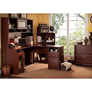 Cabot L Shaped Desk with Hutch, 6 Cube Bookcase and Lateral File Cabinet