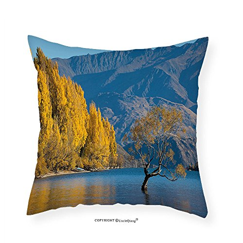 VROSELV Custom Cotton Linen Pillowcase Nature Sunken Tree Lake on Mountain Range Exquisite Rural New Zealand Scenery for Bedroom Living Room Dorm Earth Yellow Light Blue - Selena Gomez Boyfriend New