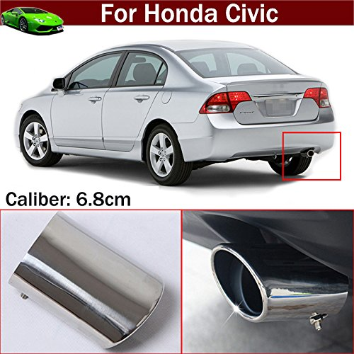 OEM 1pcs Silver Color Stainless Steel Exhaust Muffler Rear Tail Pipe Tip Tailpipe Extension Pipes Custom Fit For Honda Civic 2009 2010 2011 2012 2013 2014 2015 2016 2017 2018 TianTian Auto Part Co. Ltd