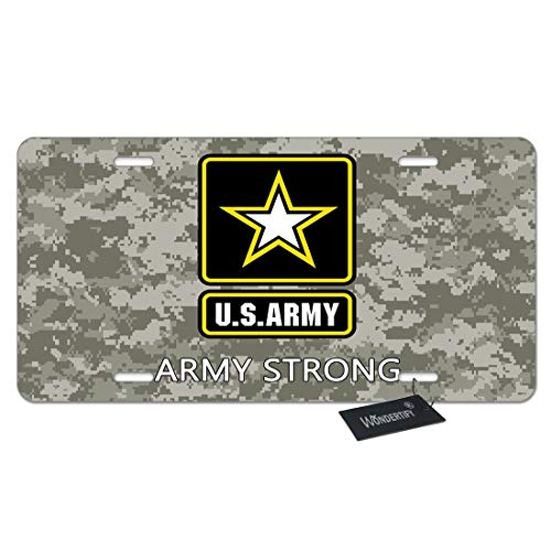 WONDERTIFY License Plate Military Us Army Strong Camouflage Background Decorative Car Front License Plate,Vanity Tag,Metal Car Plate,Aluminum Novelty License Plate,6 X 12 Inch (4 Holes)