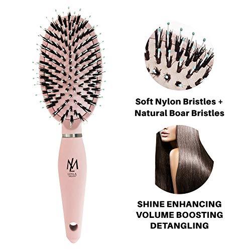 Leyla Milani Pink Hair Detangler Brush - Miracle Brush Human Hair Brushes for Sensitive Scalp, Gentle Detangling, Shine, Volumizing, Nylon Boar Bristle, Best Paddle Brush for Women, Men, Kids