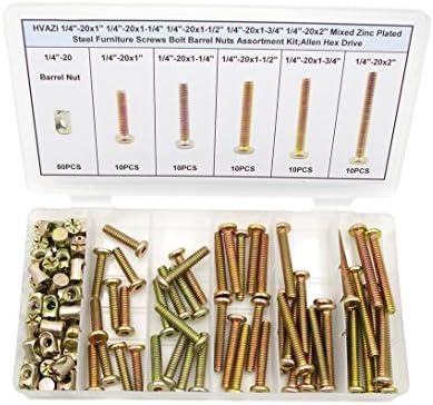 HVAZI 1//4-20x1 1//4-20x1-1//4 1//4-20x1-1//2 1//4-20x1-3//4 1//4-20x2 Mixed Zinc Plated Steel Furniture Screws Bolt Barrel Nuts Assortment Kit;Allen Hex Drive