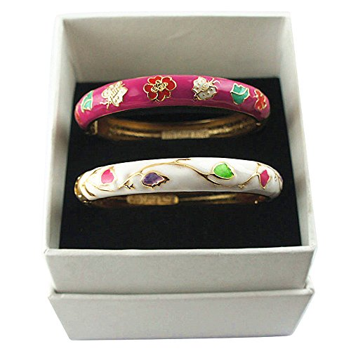 UJOY Indian Couple Bangles Set Butterfly Flower Enamel Cloisonne Bracelet for Women Gift Jewelry Box 55A61 White