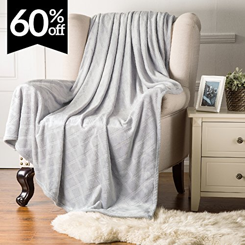 Fleece Throw Blanket Platinum color Embossed Plaid Pattern 5