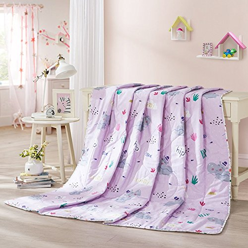 LOVO Children Comforter Set Bedspread Printed Quilt Lightweight Bedding Coverlet for Kid, Pink, Twin by LOVO