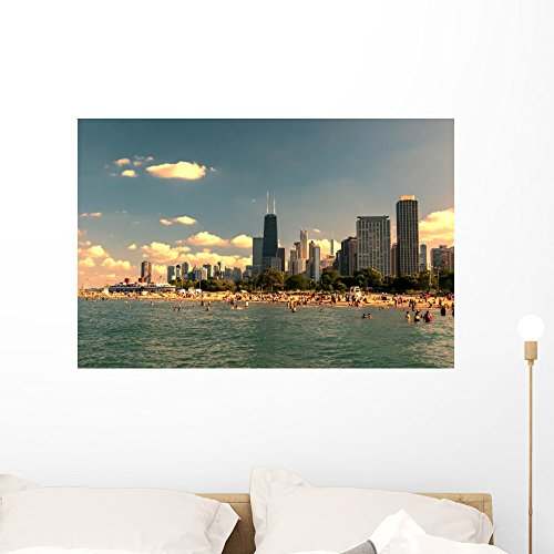 North Avenue Beach Chicago Wall Mural by Wallmonkeys Peel and Stick Graphic (36 in W x 24 in H) - Place Water Chicago Downtown Tower