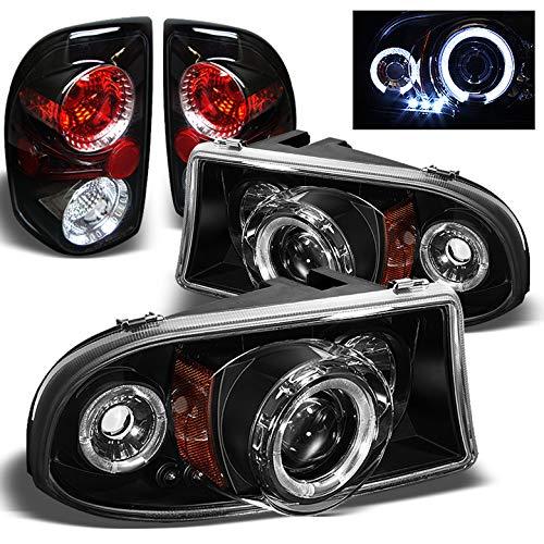 Xtune for 1997-2004 Dodge Dakota Halo LED Projector Headlights Lights + Tail Lights 1998 1999 2000 2001 2002 2003 -