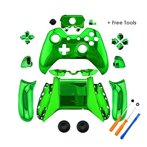 YTTL® Green Chrome Controller Housing Shell for Microsoft XBOX ONE Wireless Controller with 3.5 mm headsets jack